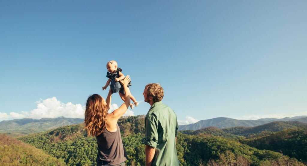 Family with baby in Smoky Mountains