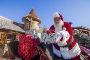 Santa arrives with presents in Black Bear Village